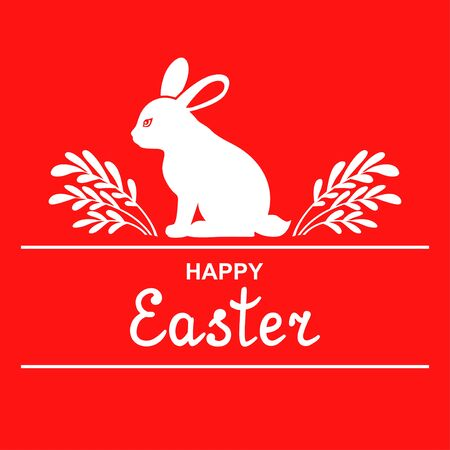 Vector illustrations of Easter decorative icon with rabbit and branches on red background