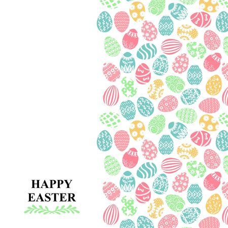 Vector illustrations of Easter card with color decorative eggs vertical design Vettoriali