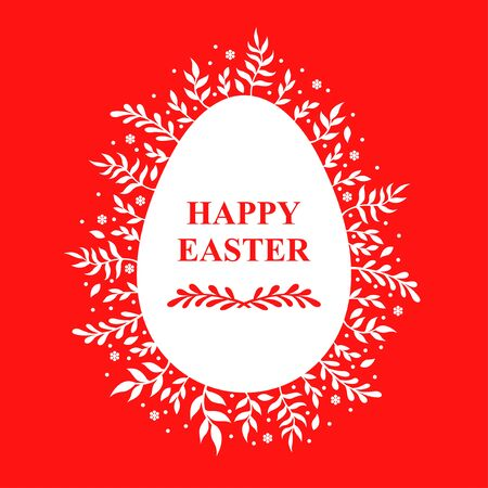 Vector illustrations of Easter decorative eggs icon with branches on red background