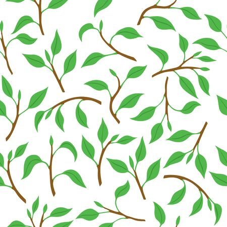 Vector illustrations pattern seamless of spring branches with leaves