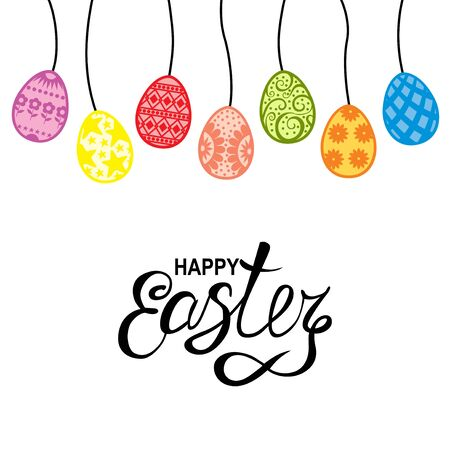 Vector illustrations of Easter greeting card with decorative color eggs hang