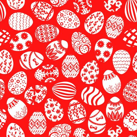 Vector illustrations of Easter decorative eggs pattern seamless on red background