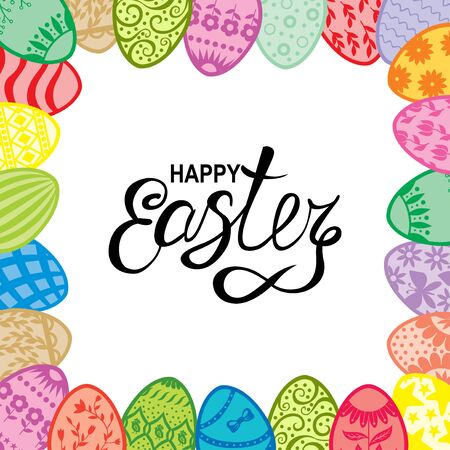 Vector illustrations of Easter card with greeting text and frame of decorative eggs Vettoriali