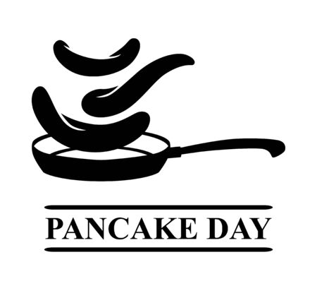 Vector illustrations of Pancake day a card with a pan over which pancakes are turned