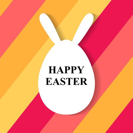 Vector illustrations of Easter greeting card with egg with rabbit ears on multicolor background