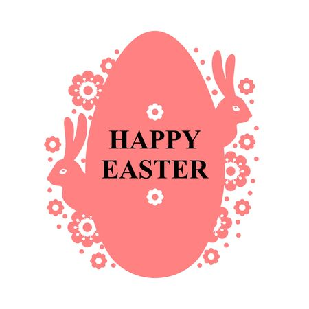 Vector illustrations of Easter greeting card with eggs and flowers and rabbit