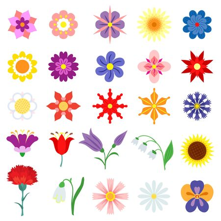 Vector black and color flowers set Vettoriali