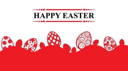 Vector illustrations of Easter greeting banner with eggs