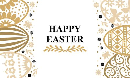 Vector illustrations of Easter greeting card with eggs and decorative elements Vettoriali