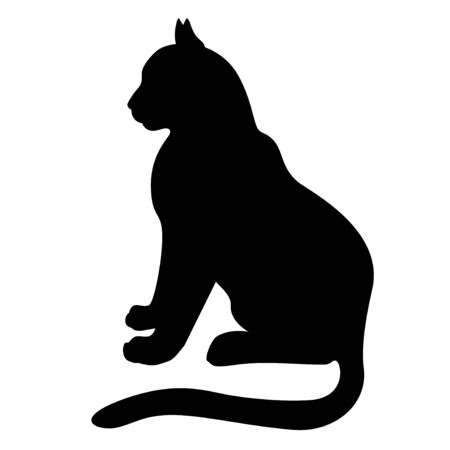 Vector illustrations of silhouette of sitting black graceful cats in the profile Vettoriali