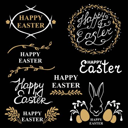 Vector illustrations of Easter decorative greeting icon set on black background