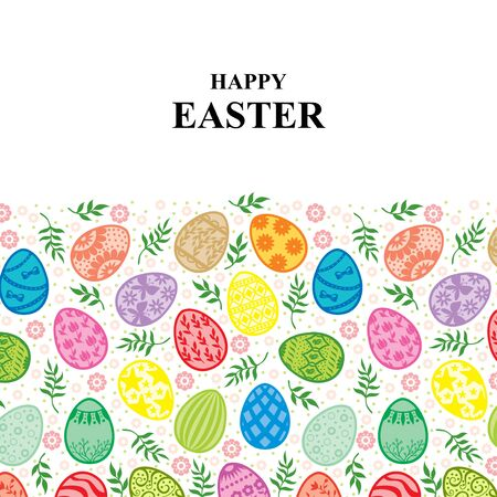 Vector illustrations of Easter card with decorative eggs ornament