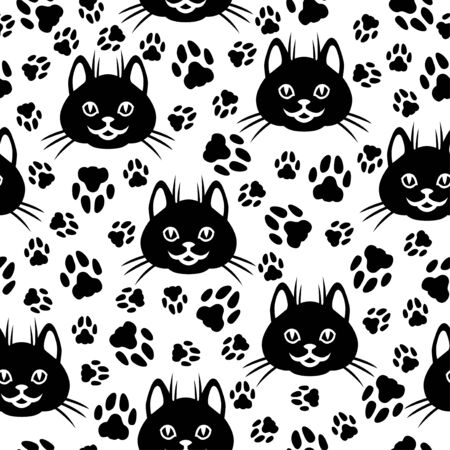 Vector illustrations of cute cat faces and footprint pattern seamless