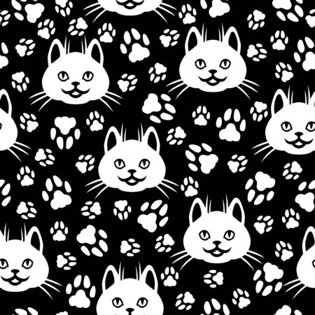 Vector illustrations of cute cat faces and footprint pattern seamless on black background Vettoriali