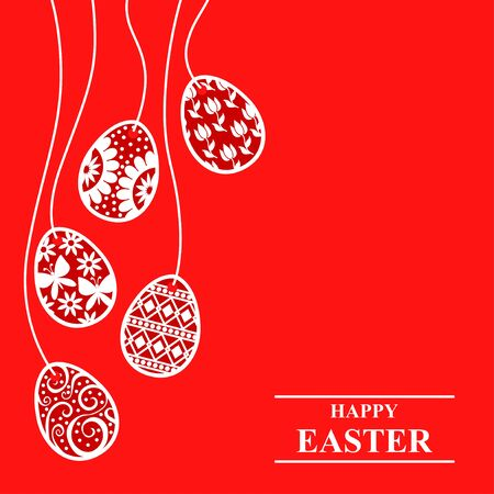Vector illustrations of Easter greeting card with decorative eggs hang on red background
