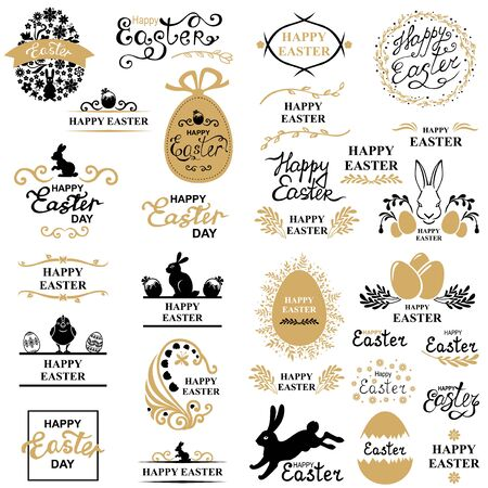 Vector illustrations of Easter decorative greeting icon set Vettoriali
