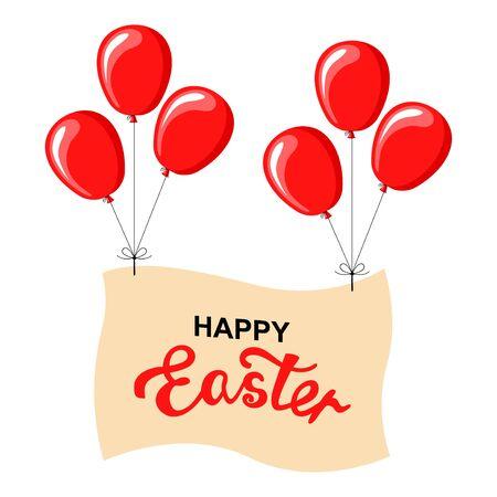 Vector illustrations of Easter balloon banner