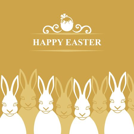 Vector illustrations of Easter card with rabbits on gold background