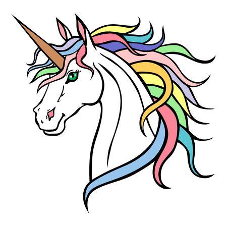 Vector illustrations of Unicorn portrait with rainbows mane