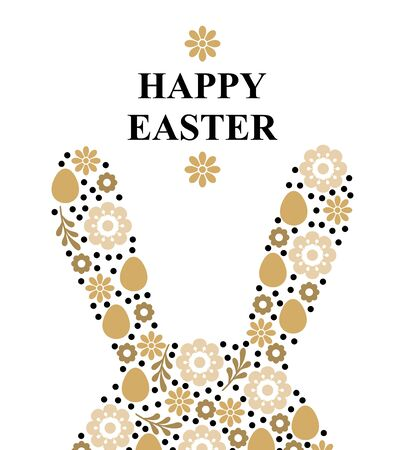 Vector illustrations of Easter greeting card with decorative rabbit ears