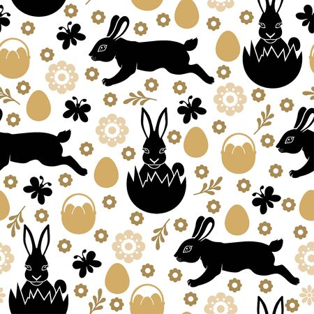 Vector illustrations of Easter pattern seamless with rabbits