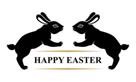 Vector illustrations of Easter card with rabbits and greeting text Vettoriali