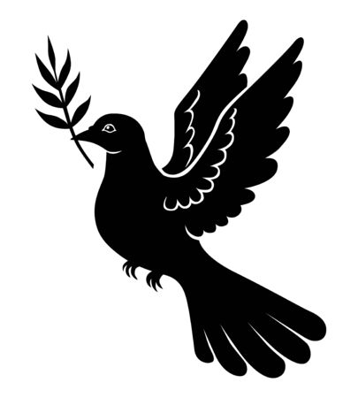 Vector illustrations of dove with palm branch silhouette Vettoriali