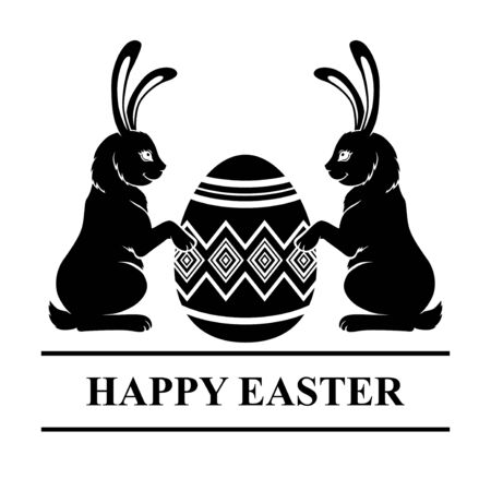 Vector illustrations of Easter card with rabbits and decorative egg Vettoriali