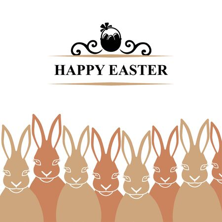 Vector illustrations of Easter card with rabbits Vettoriali