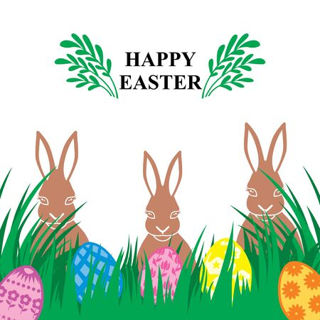 Vector illustrations of Easter card with decorative eggs on green grass and rabbits Vettoriali