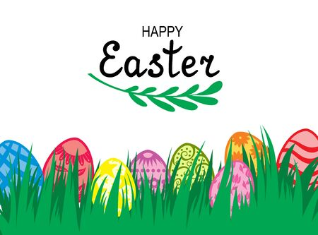 Vector illustrations of Easter card with decorative eggs on green grass Vettoriali