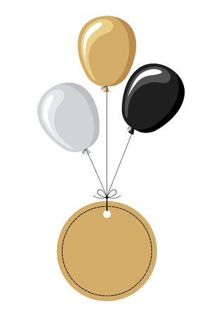 Vector illustrations of labels flying on balloons