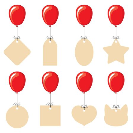 Vector illustrations of labels of different shapes flying on balloons Vettoriali