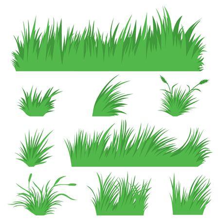 Vector illustrations of grass set Vettoriali