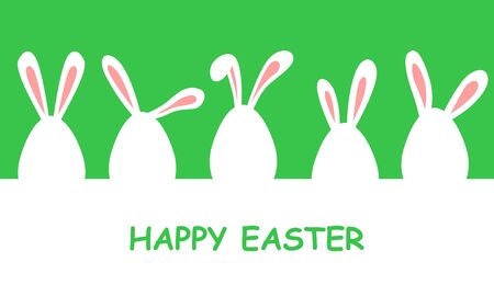 Vector illustrations of Easter banner with eggs decorated with rabbit ears on green background Vettoriali