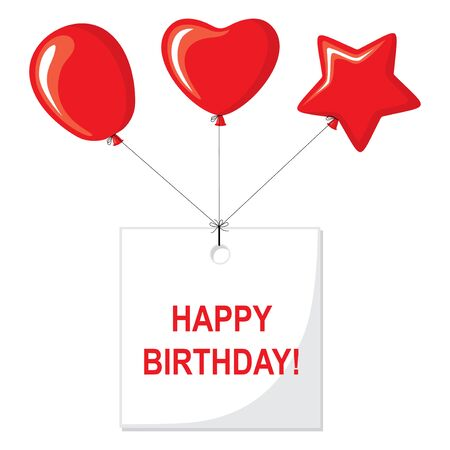 Vector illustrations of Happy Birthday card with balloons and a greeting sign