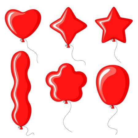 Vector illustrations of balloons of different shapes set Vettoriali