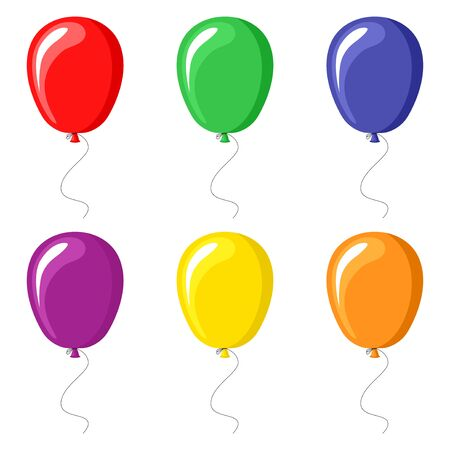 Vector illustrations of color balloons set