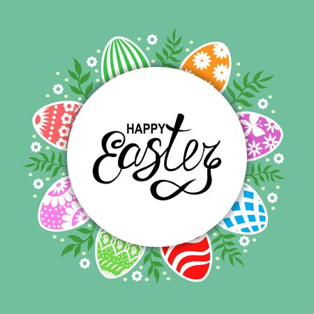 Vector illustrations of Easter card with decorative eggs and branches on green background Vettoriali