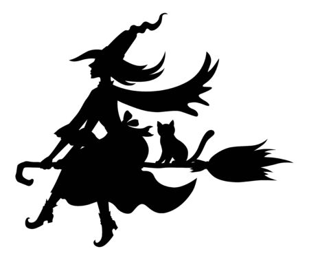 Vector illustrations of Halloween silhouettes witch and cat with hat on broom fly Vettoriali