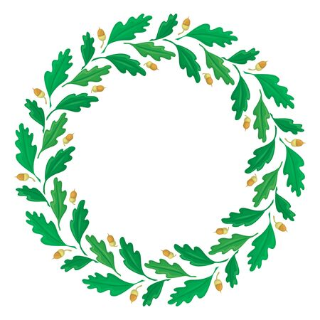 Vector illustrations of wreath of oak leaves and acorns Vettoriali