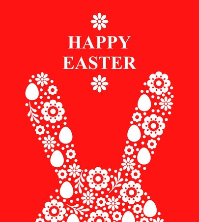 Vector illustrations of Easter greeting card with decorative rabbit ears on red background Vettoriali
