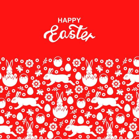 Vector illustrations of Easter greeting card on red background Vettoriali