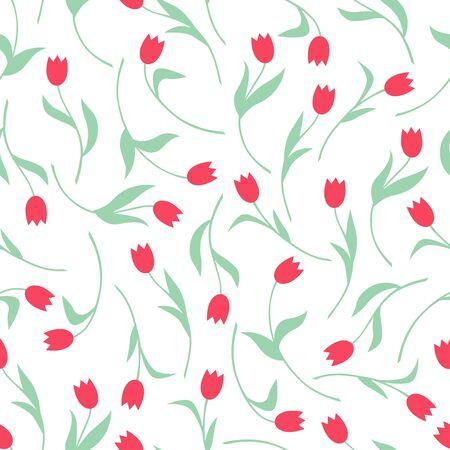 Vector illustrations of tulips flowers pattern seamless Vettoriali