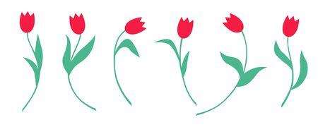 Vector illustrations of tulips flowers set Vettoriali