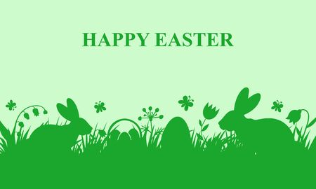 Vector illustrations of Easter card with rabbits in the meadow on green background
