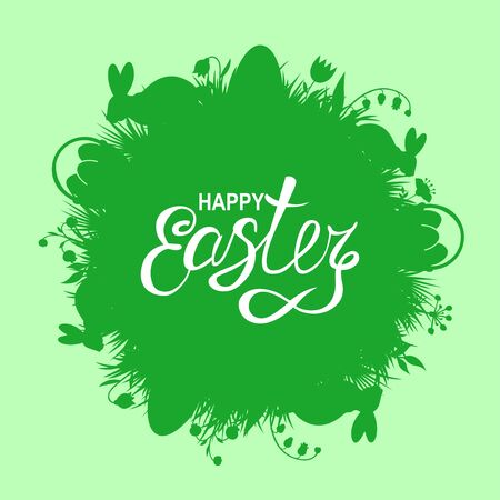 Vector illustrations of Easter card with rabbits and grass on green background