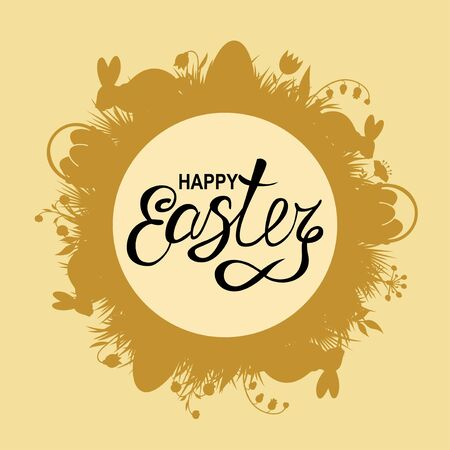 Vector illustrations of Easter card with rabbits and grass Vettoriali