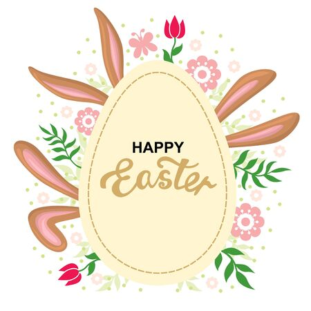 Vector illustrations of Easter card with rabbits ears and greeting egg Vettoriali