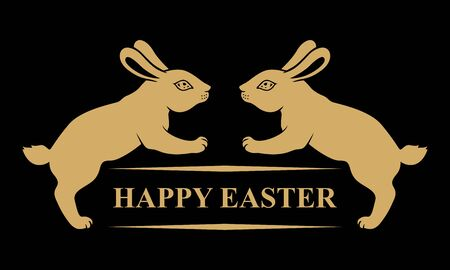 Vector illustrations of Easter card with rabbits and greeting text on black background Vettoriali